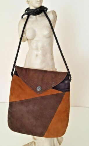 Suede Snap Pouch Crossbody Flap Bag Brown Money Hider Handmade Fabric Lined