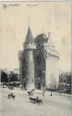 CPA Bruxelles Porte de Hal mooie stempel feldpost 1914 (2 scans)