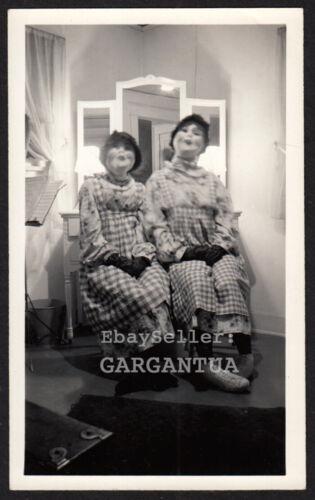FREAK NIGHTMARE HALLOWEEN MASK COSTUME TWIN KILLER CLOWNS ~ 1930s VINTAGE PHOTO