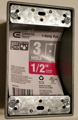 Sigma Electric Outlet 1-gang Box - Gray - 214 442 - 3 Hole 12 - All-weather