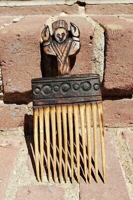 African Ethnographic Wood Comb Afro Pick Ivory Coast Hand-Carved LOBSTER!!!