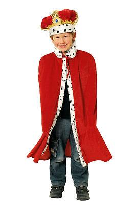 Kostüm König f. Kinder 2tlg. Umhang Krone Königskostüm Mantel ()