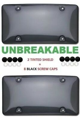 2x Bubble Tinted- Smoke License Plate Tag Frame Cover Shield Car Truck