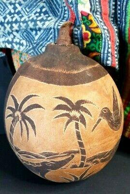 Old Australian Kimberley Carved Boab Nut with Crocodile, Emu, & Snake...