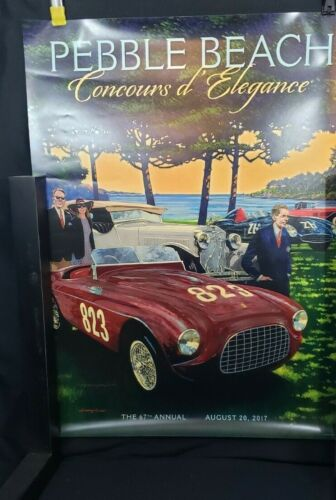 2017 Pebble Beach Concours Poster FERRARI 212 Barchetta 121 LM Signed by Rowe