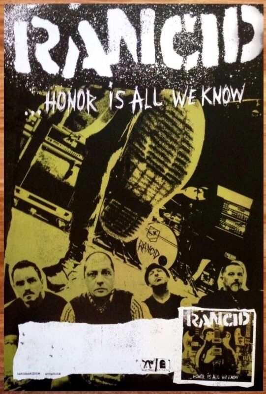 RANCID Honor Is All We Know Ltd Ed RARE LARGE Tour Poster +FREE Punk Rock Poster