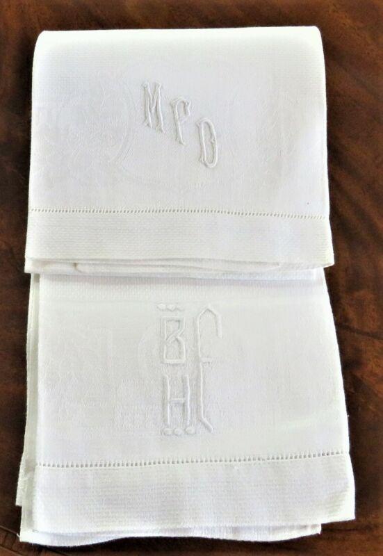 "2 ANTIQUE VINTAGE WHITE LINEN HAND TOWELS MONOGRAM ""MPD"" ""BHF"" EX-CONDITION"