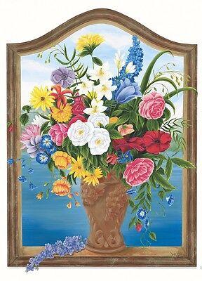 "Tatouage Flower Vase Window Rub on Transfer by Yovan--31"" high x 23"" wide"