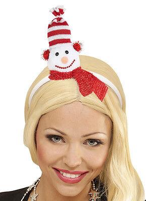 Mann Haar (Damen Schneemann Haarreifen mit Mütze und Schal Hut  Weihnachtsfeier Weihnachten)