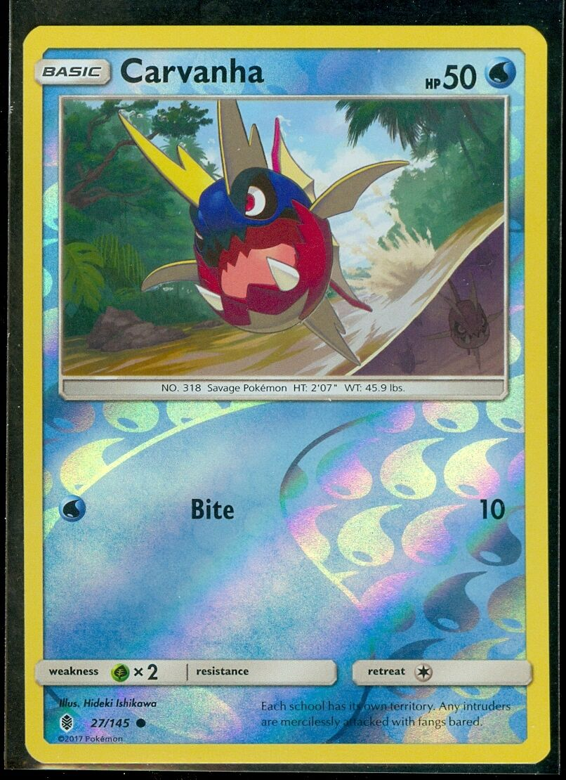Reverse Holo Card 2x Pokemon Guardians Rising Carvanha 27//145 Common