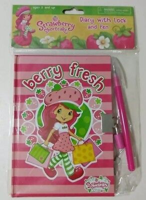 Strawberry Shortcake Diary with Pen Lock and Keys Journal Blank Book Berry  Fresh