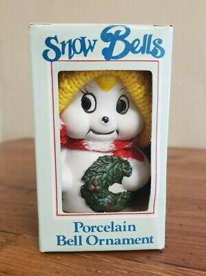 Snow Bells Porcelain Bell Ornament Snowman Wreath Hand Painted Christmas Porcelain Bell Ornament