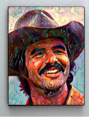 Framed Abstract Burt Reynolds Cowboy Hat Art Print Limited Edition w/signed COA