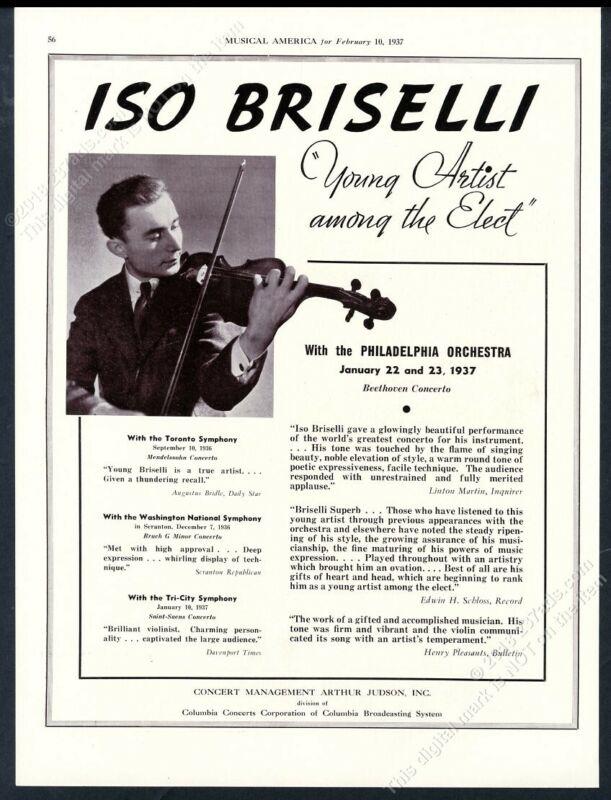 1937 Iso Briselli photo violin recital tour booking trade print ad