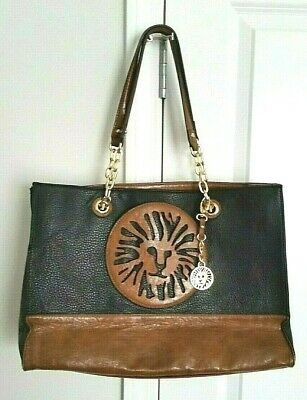 Black & Cognac Brown Faux Leather Anne Klein Lion Head Tote Purse Keyfob 10x15