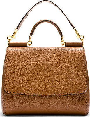 Dolce & Gabbana Brown Pebbled Leather Miss Sicily Large- SOLD OUT & NWT+DUST BAG