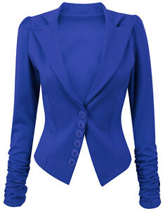Womens Long Ruched Sleeve Button Front Panell Slim Fit Blazer /Jacket Size 8-14