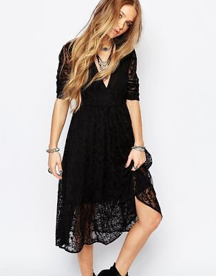 $175 FREE PEOPLE MOUNTAIN Laurel Lace EMBROIDERED MESH Dress BLACK BOHEMIAN CHIC