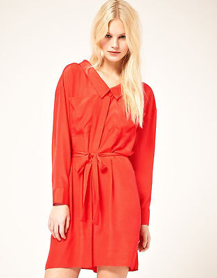 A shirtdress is a simple and easy way to include red