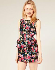 ASOS-Glamorous-Floral-Cut-Out-Back-Dress-Size-UK-12