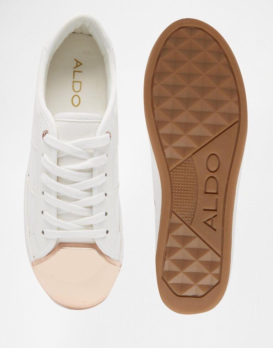 Sneakers von Aldo weiß gold metallic 37 goldene Kappe Turnschuhe Sneaker RAF