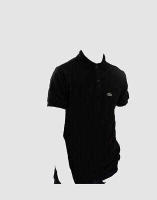 $95 Lacoste Kids Boy's Black Classic Croc Logo Short Sleeve Pique Polo Shirt 10