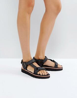 Hudson CALYPSO BLACK LEATHER SANDALS WITH TOUCH FASTENING  SIZES 36E 40EU