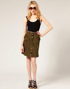 MODA Jupe Olive Sombre Utilitaire boutonné Poche Militaire jupe