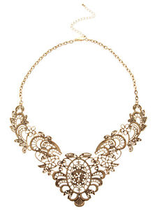 European-Banquet-Vintage-Retro-Collar-Bronze-Lace-Flower-Chain-Choker-Necklace