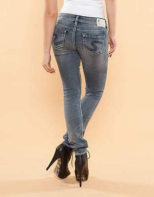 Silver Jeans Embroidered Jeans - Silver Jeans Mid Rise Aiko Embroidered Skinny Dark Stretch Jean 25 26 29 31 32 R