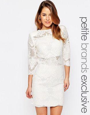 John Zack Petite All Over Baroque Sequin Mesh Mini Dress UK10/EU38/US6   zz6