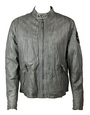 Armani Jeans Men's Leather Jacket Grey (AJJK001)
