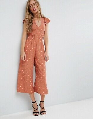 ASOS Jumpsuit With Twist Back. Rust/brown Spot Print. Vintage. UK 8. RRP £38
