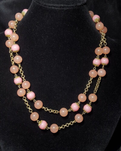 Pink Lucite Crackle Beaded Hand Looped Chain Flapper Style Necklace