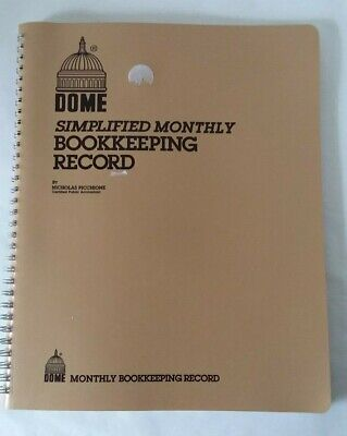 Dome Simplified Monthly Bookkeeping Record Pichione Cpa No. 612 8 12 X 11