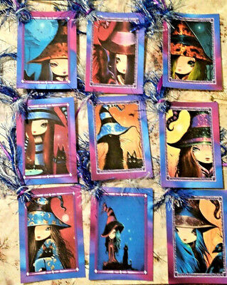 9 Little Halloween Witches~Gift Hang Tags~Scrapbooking~Card Craft Making - Make Halloween Gift Tags