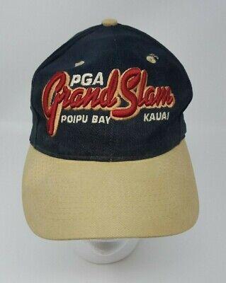 PGA Grand Slam Poipu Bay Golf Hat Baseball Cap Black and Tan Ahead Strapback
