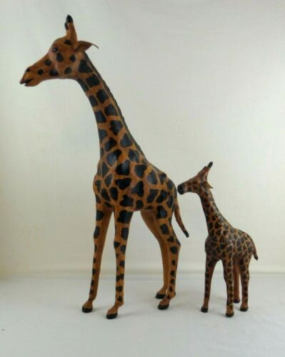 """Vintage Set Of 2 Giraffes Sculpture Figurine Leather Wrapped 18""""  & 10"""" Tall"""