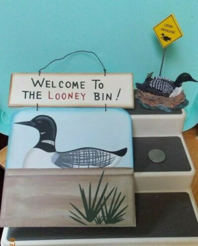 2 Loon Items - Sign and picture/note holder