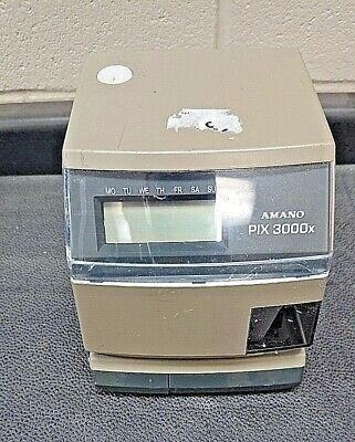 Amano Pix 3000x Digital Electric Time Stamp Recorder Clock Punch In Out