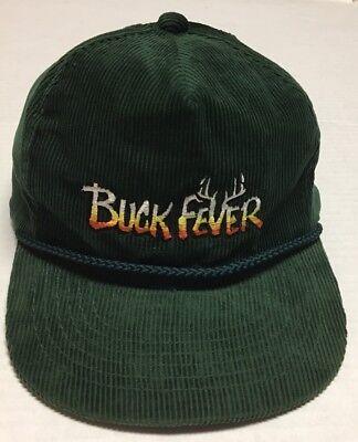 Vtg Buck Fever Hat Deer Hunting Baseball Cap Corduroy Hunter Hunt Green Textured