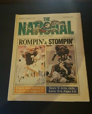 THE NATIONAL SPORTS DAILY NEWS PAPER JANUARY 7 1991 BENGALS BEARS ESIASON GAYLE