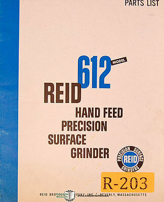 Reid Brothers 612 Surface Grinder Instructions And Parts Assemblies Manual