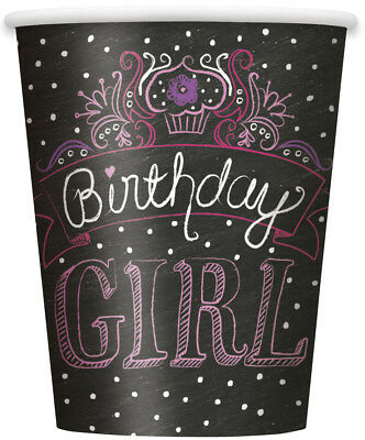 Happy Birthday Paper Cups Black Purple Pink 8ct Party Supply Decoration](Pink Cups)