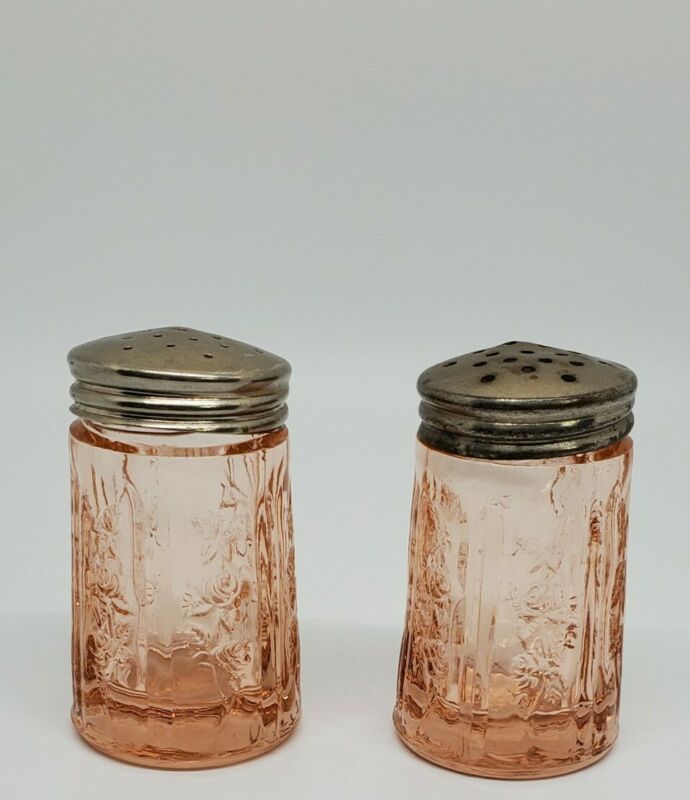 Vintage Federal Glass Company Pink Cabbage Rose Salt & Pepper Shakers