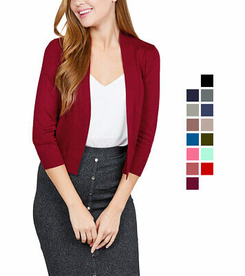 Women's Cropped Cardigan 3/4 Sleeve Open Front Knit Sweater Rib Banded
