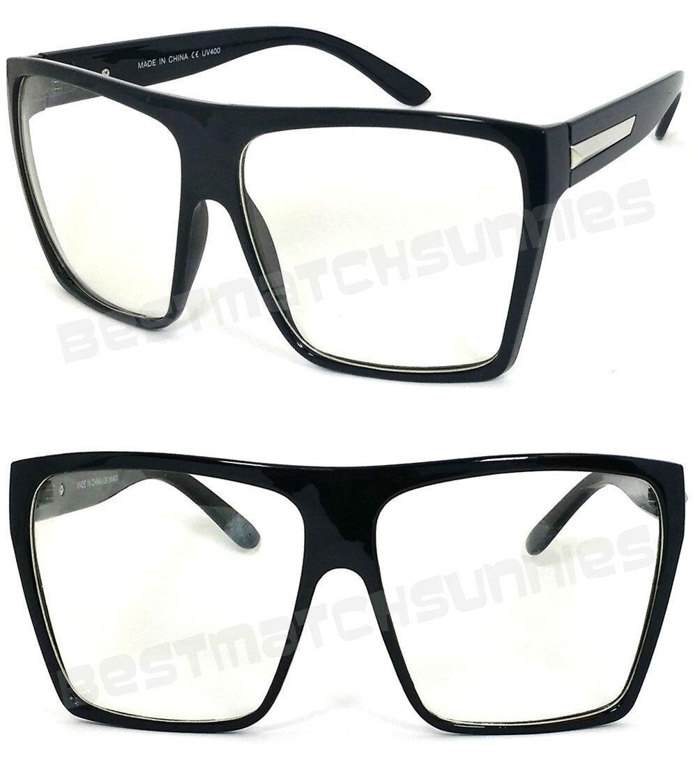 54da36b830 Hombre Mujer Grande Parte Superior Plana Gafas de Sol Cuadradas Montura  Negra