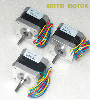 3pcs Nema17 34mm Stepper Motor 1.2a 38oz.in Cnc Router3d Printer Stepping Motor