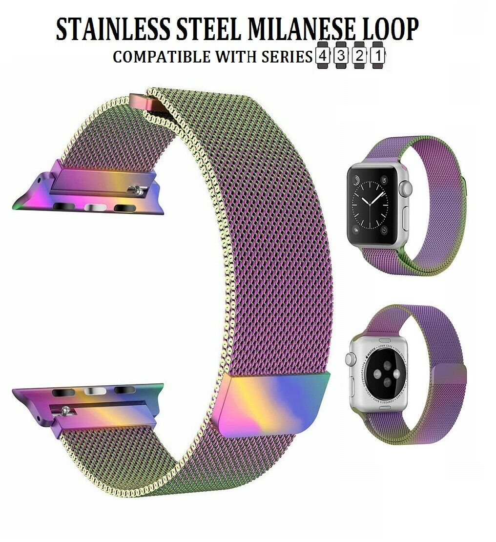 42/44mm Series 1-4 Rainbow Stainless Steel Milanese Luxury Band for Apple Watch Jewelry & Watches