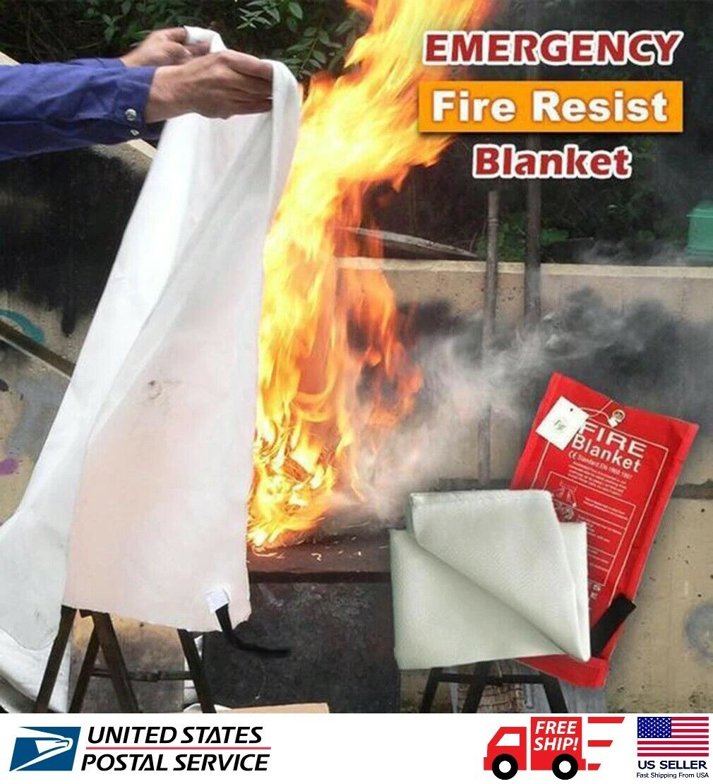 1m² Emergency Fire Blanket Quick Release In Case For Home O